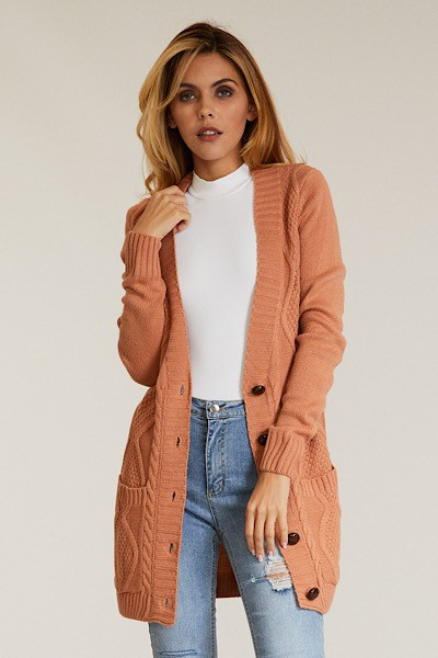 Cable Knit Button up Cardigan - orangeshine.com