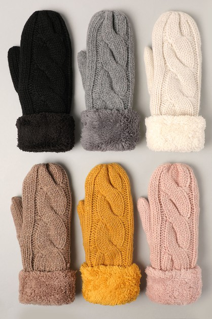 Solid Cable Knit Mittens with Lining - orangeshine.com