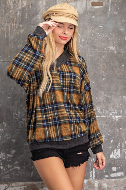 PLAID V NECK HACCI MELANGE KNIT TOP - orangeshine.com
