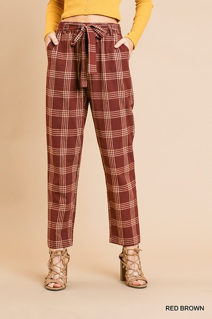 High waist Plaid Straight Leg Pants  - orangeshine.com