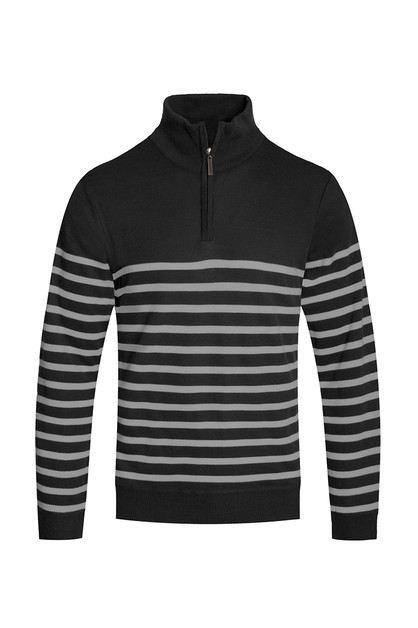 STRIPED QUARTER ZIP SWEATER - orangeshine.com