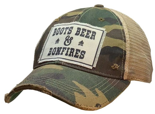 Boots Beer and Bonfires Trucker Hat - orangeshine.com