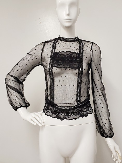 See Through Dot Mesh Lace Top  - orangeshine.com