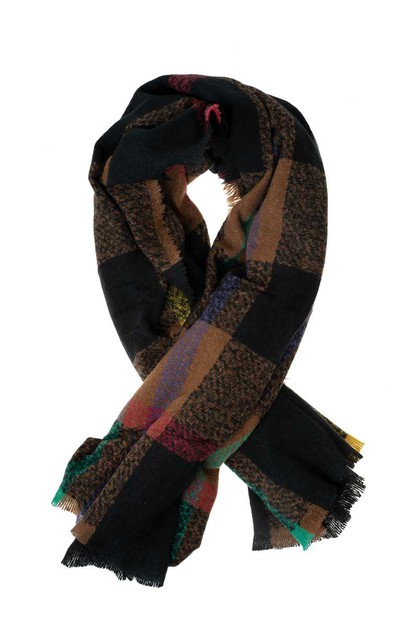 Plaid Knitted Scarf With Frilled Edg - orangeshine.com