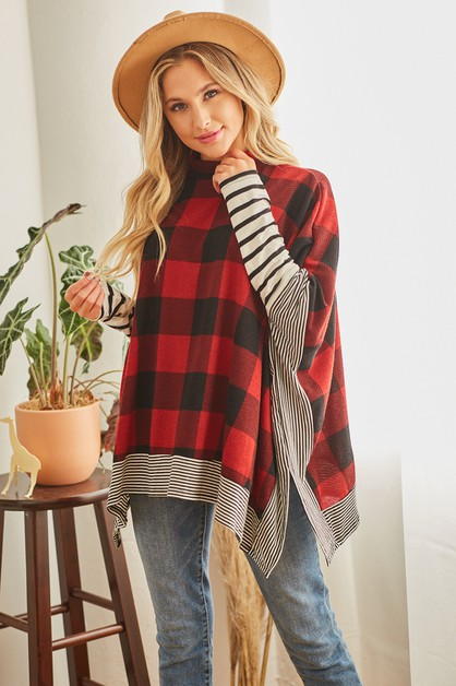 Buffalo Plaid Poncho - orangeshine.com