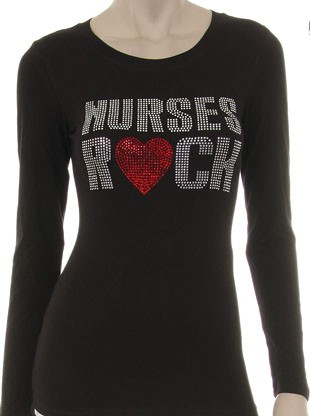 NURSES ROCK w/ RED HEART  - orangeshine.com