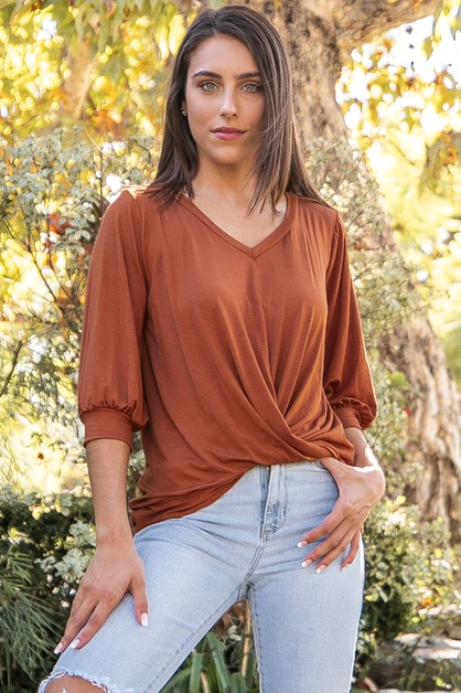 Solid Top with Twisted Waist Detail - orangeshine.com