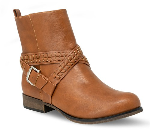 Women Low Heel Round Toe Booties - orangeshine.com
