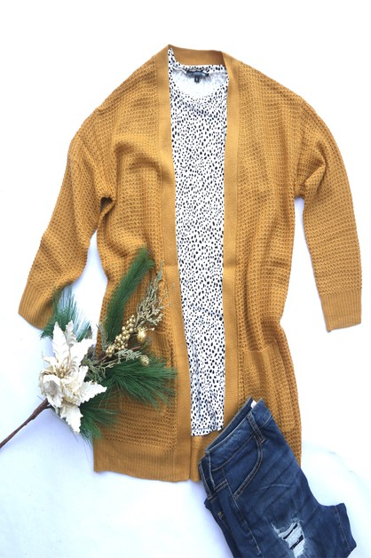 Waffle Pocket Long Cardigan - orangeshine.com