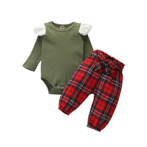 Baby Plaid flutter sleeve outfit set - orangeshine.com