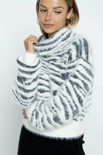 Zebra Turtle Neck Knit Sweater  - orangeshine.com