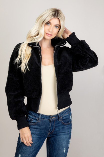 Faux Fur Fleece Warm Bomber Jacket - orangeshine.com