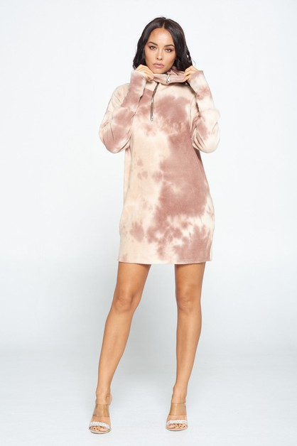 Cozy Casual Tie-Dye Sweater Dress - orangeshine.com