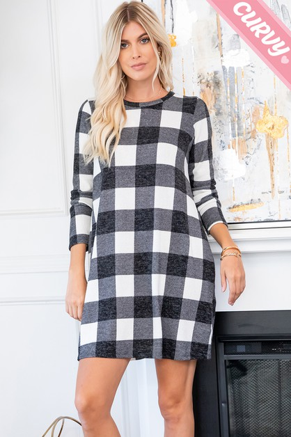 PLAID SWEATER DRESS WITH POCKET - orangeshine.com
