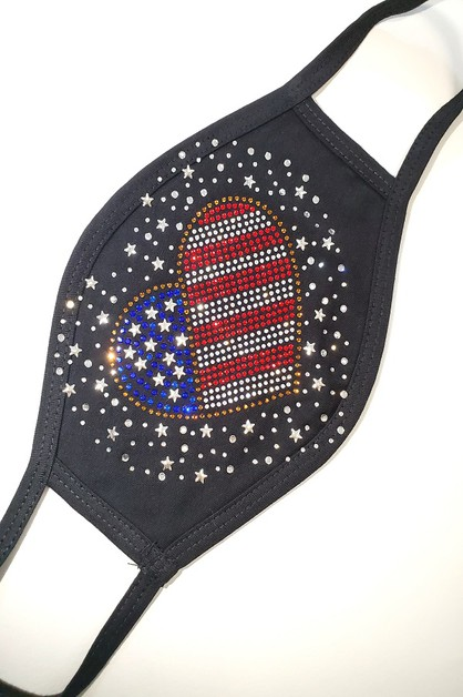 USA Flag Heart Mask - orangeshine.com