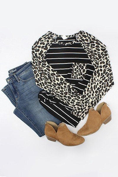 Long Sleeve Leopard and Stripes Top  - orangeshine.com