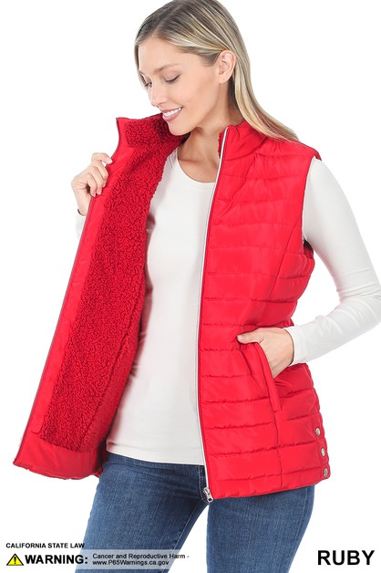 SHERPA LINED QUILTED ZIP-UP VEST - orangeshine.com