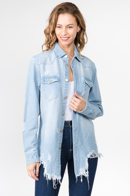 PLUS DISTRESSED DENIM SHIRTS - orangeshine.com