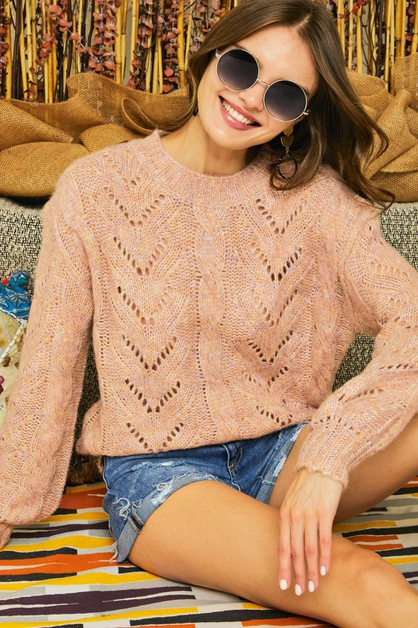 SOFT CABLE KNIT PUFF SLEEVE SWEATER  - orangeshine.com