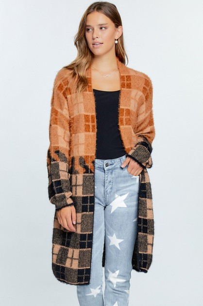 Color Block Plaid Pattern Long Cardi - orangeshine.com