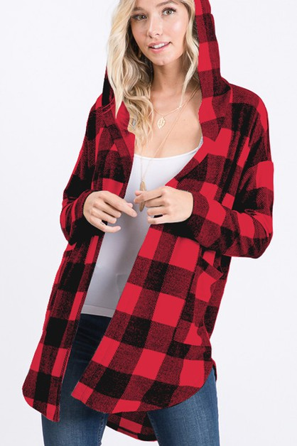 PLAID HOODED OPEN CARDIGAN - orangeshine.com