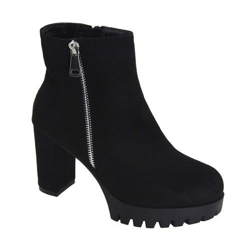 Women Block high heel side zip booties - orangeshine.com