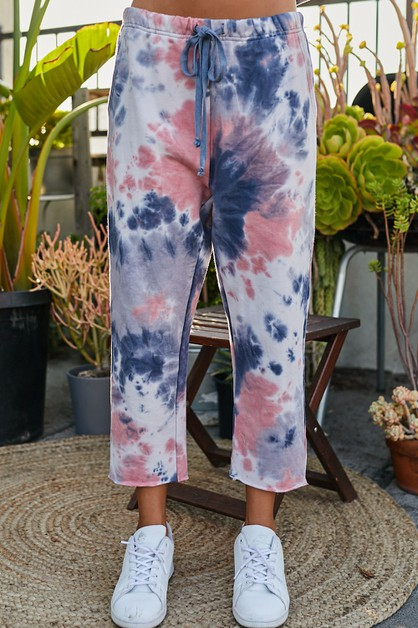 Tie-Dye Long French Terry Straight Pants - orangeshine.com