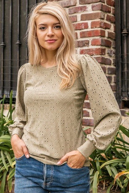 Solid Eyelet Top - orangeshine.com