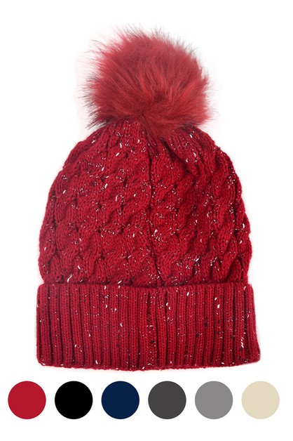 Womens Speckled Pom Pom Winter Hat  - orangeshine.com
