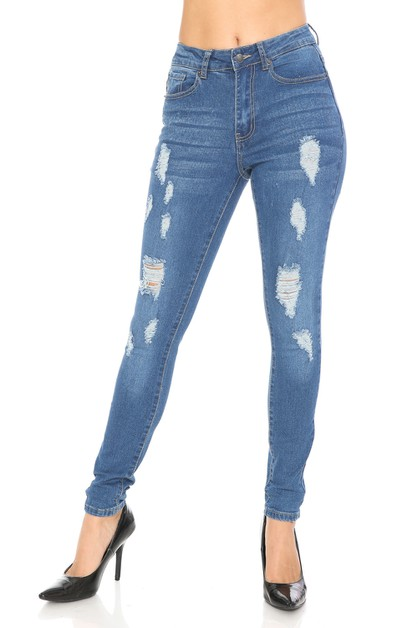Distressed skinny denim jeans  - orangeshine.com