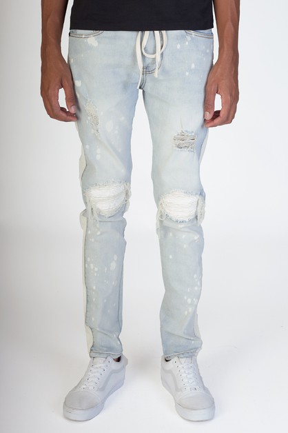 PU SMOCKING PATCHED JEANS W SIDE ST - orangeshine.com