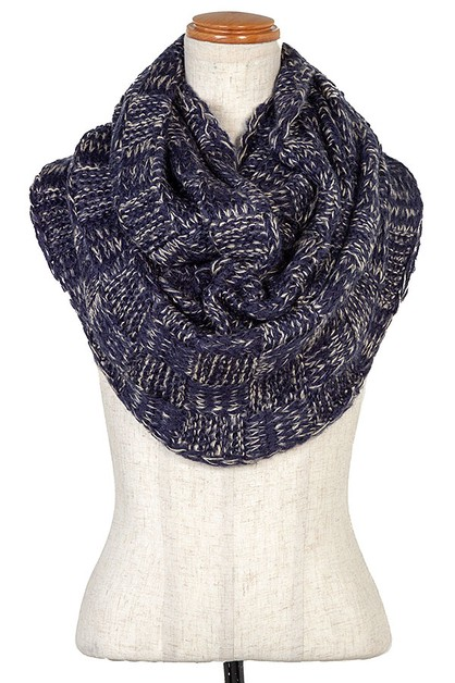 WOVEN KNIT PATTERN INFINITY SCARF - orangeshine.com