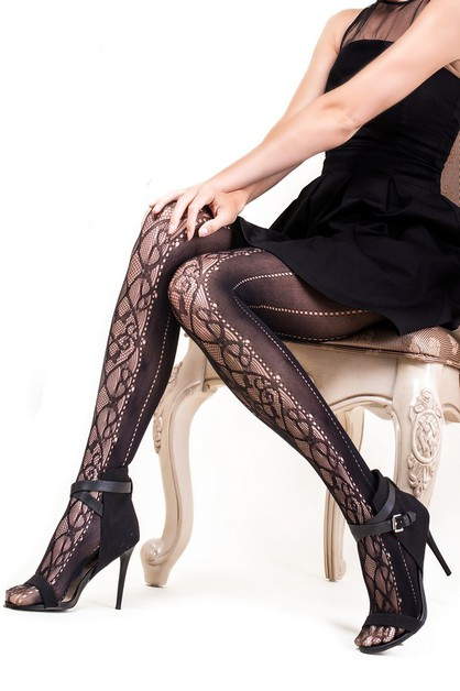 Ornate Swirl Dotted Fishnet Tights - orangeshine.com