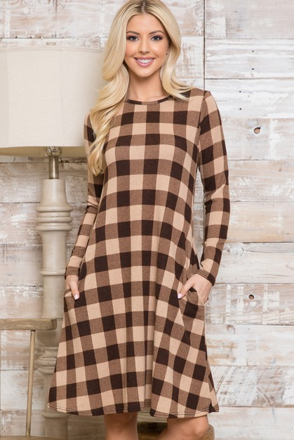 Plus Plaid Long Sleeve Midi Dress - orangeshine.com