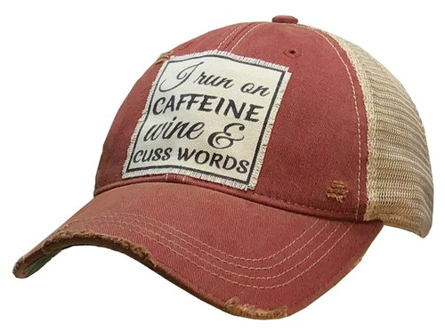 I Run On Caffeine Wine Trucker Hat - orangeshine.com