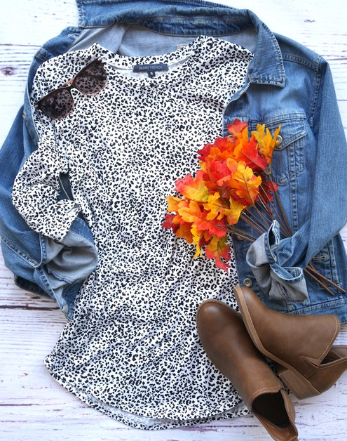 Animal Print Quarter Sleeve Tunic  - orangeshine.com