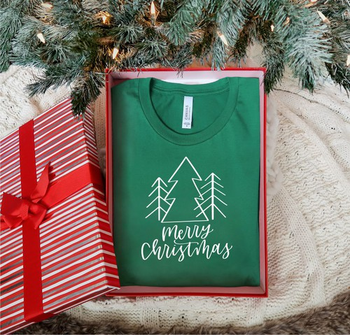 Merry Christmas Trendy Tree Tee - orangeshine.com