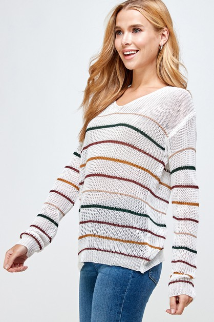 Multi Stripe Pullover Sweater - orangeshine.com