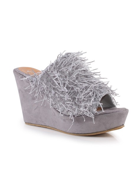 Wilma01 Fuzzy Women Wedge Sandals - orangeshine.com