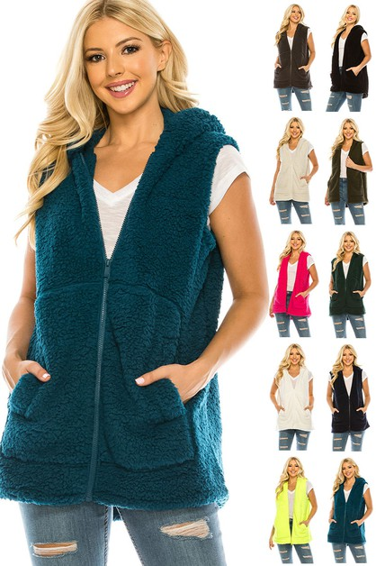 Sleeveless Hooded Sherpa Coat - orangeshine.com