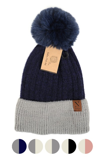 Women Pom Pom Two-Tone Knit Hat - orangeshine.com