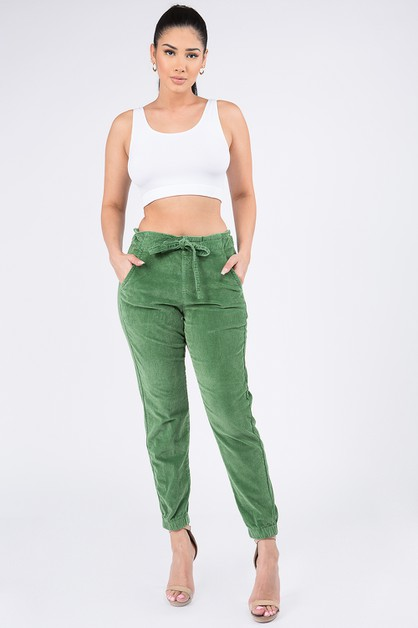 HIGH WAIST CORDUROY COLOR JOGGERS - orangeshine.com