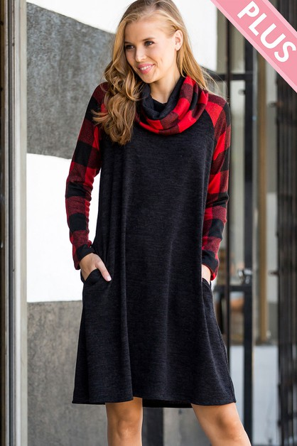 TURTLENECK PLAID KNIT DRESS  - orangeshine.com