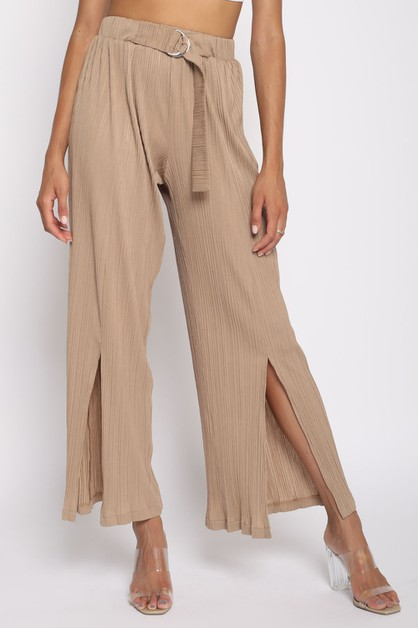 SPLIT LEG PLISSE PANTS - orangeshine.com