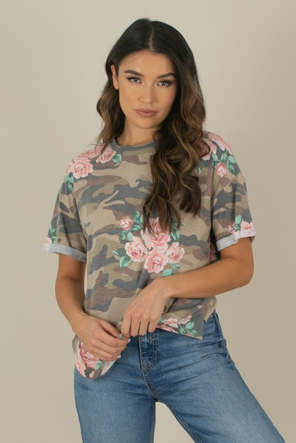 Floral Camo French Terry Tee - orangeshine.com