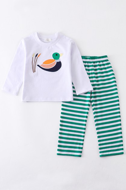 Green duck applique boy set - orangeshine.com