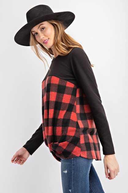 Plaid and Solid Front Knot Top - orangeshine.com