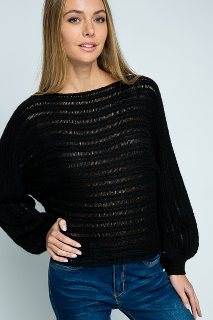 SOLID OPEN KNIT SWEATER - orangeshine.com