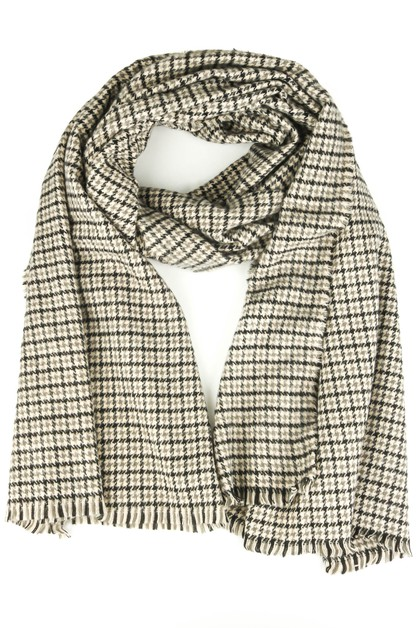 Houndstooth Knitted Long Scarf - orangeshine.com