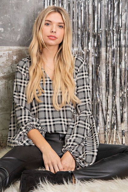 PLAID HI-LO VOLUME SLEEVE TOP - orangeshine.com